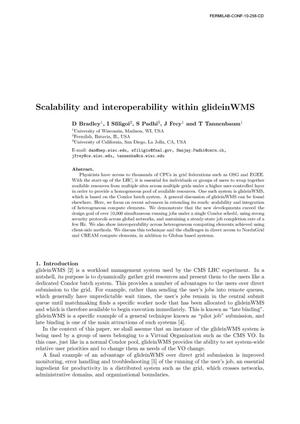Primary view of object titled 'Scalability and interoperability within glideinWMS'.