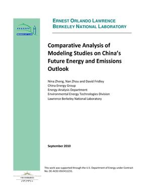 Primary view of object titled 'Comparative Analysis of Modeling Studies on China's Future Energy and Emissions Outlook'.