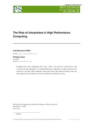 Primary view of object titled 'The role of interpreters in high performance computing'.