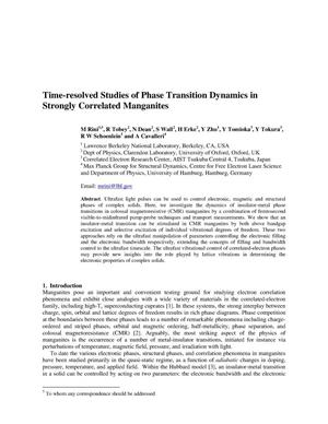 Primary view of object titled 'Time-resolved Studies of Phase Transition Dynamics in Strongly Correlated Manganites'.