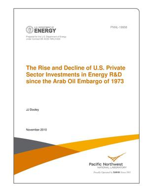 Primary view of object titled 'The Rise and Decline of U.S. Private Sector Investments in Energy R&D since the Arab Oil Embargo of 1973'.
