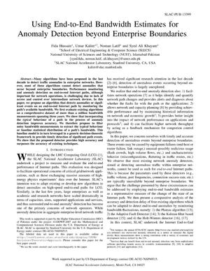 Primary view of object titled 'Using End-to-End Bandwidth Estimates for Anomaly Detection beyond Enterprise Boundaries'.