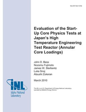 Primary view of object titled 'Evaluation of the Start-Up Core Physics Tests at Japan's High Temperature Engineering Test Reactor (Annular Core Loadings)'.