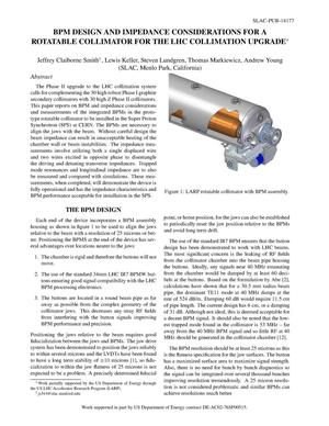 Primary view of object titled 'BPM Design and Impedance Considerations for a Rotatable Collimator for the LHC Collimation Upgrade'.