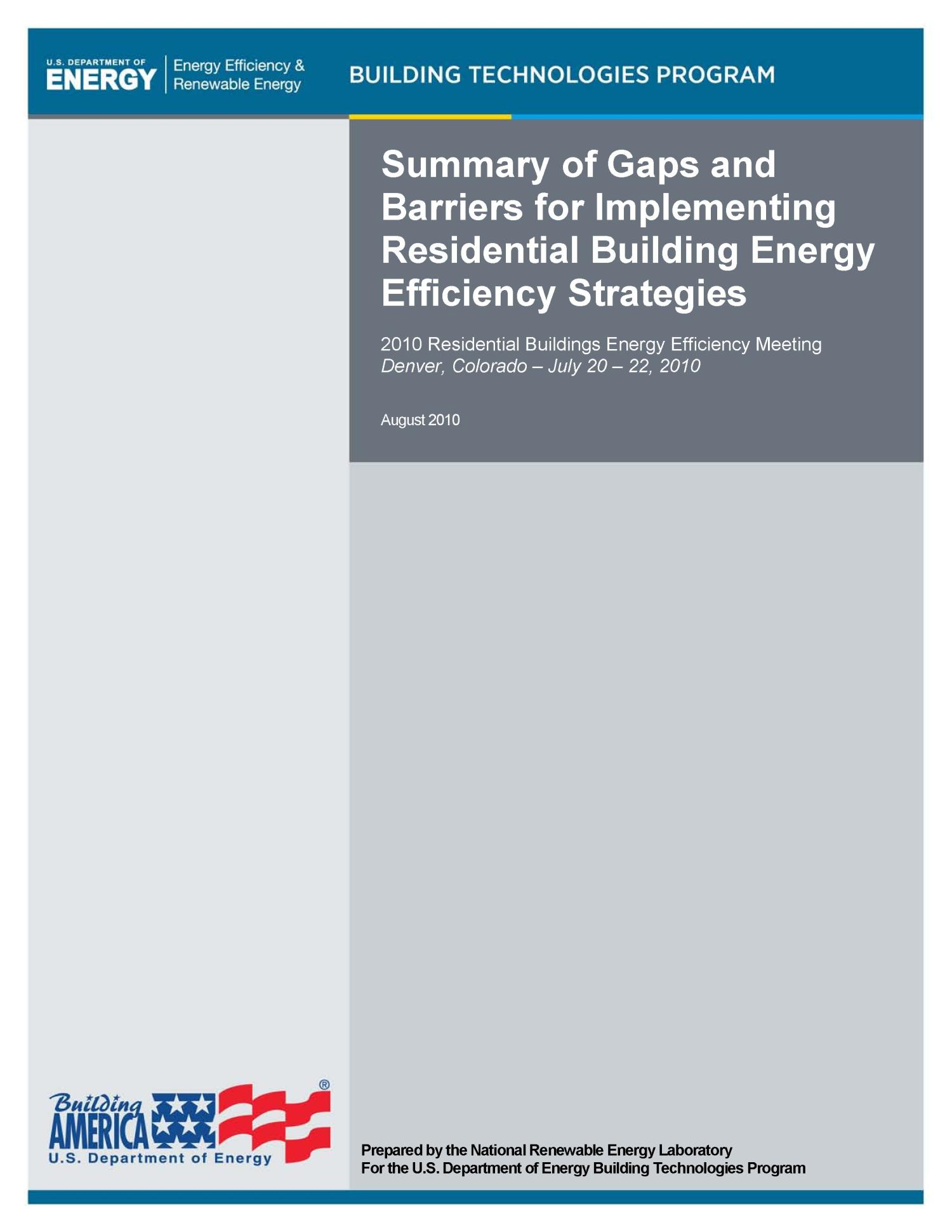 Summary of Gaps and Barriers for Implementing Residential Building Energy Efficiency Strategies                                                                                                      [Sequence #]: 1 of 36