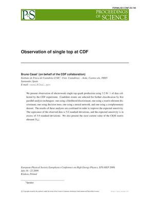 Primary view of object titled 'Observation of single top at CDF'.
