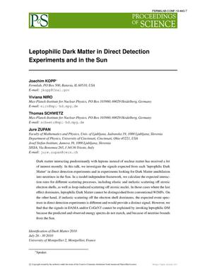 Primary view of object titled 'Leptophilic Dark Matter in Direct Detection Experiments and in the Sun'.
