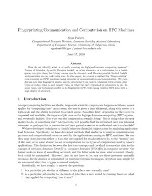 Primary view of object titled 'Fingerprinting Communication and Computation on HPC Machines'.