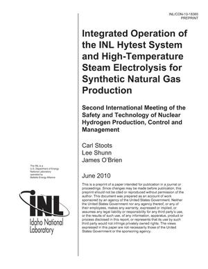 Primary view of object titled 'Integrated Operation of INL HYTEST System and High-Temperature Steam Electrolysis for Synthetic Natural Gas Production'.
