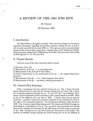 Primary view of object titled 'A Review of the 1991 E760 Run'.