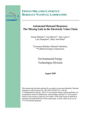 Primary view of object titled 'Automated Demand Response: The Missing Link in the Electricity Value Chain'.