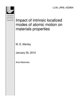 Primary view of object titled 'Impact of intrinsic localized modes of atomic motion on materials properties'.
