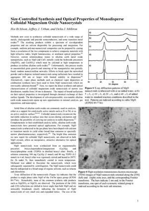 Primary view of object titled 'Size-Controlled Synthesis and Optical Properties of Monodisperse Colloidal Magnesium Oxide Nanocrystals'.