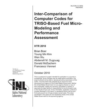 Primary view of object titled 'Inter-comparison of Computer Codes for TRISO-based Fuel Micro-Modeling and Performance Assessment'.