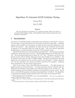 Primary view of object titled 'Algorithms to Automate LCLS Undulator Tuning'.