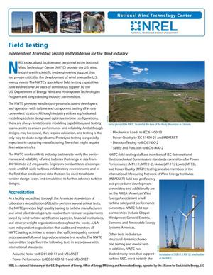 Primary view of object titled 'Field Testing: Independent, Accredited Testing and Validation for the Wind Industry (Fact Sheet)'.