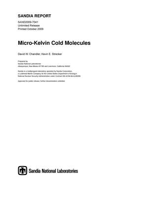 Primary view of object titled 'Micro-Kelvin cold molecules.'.