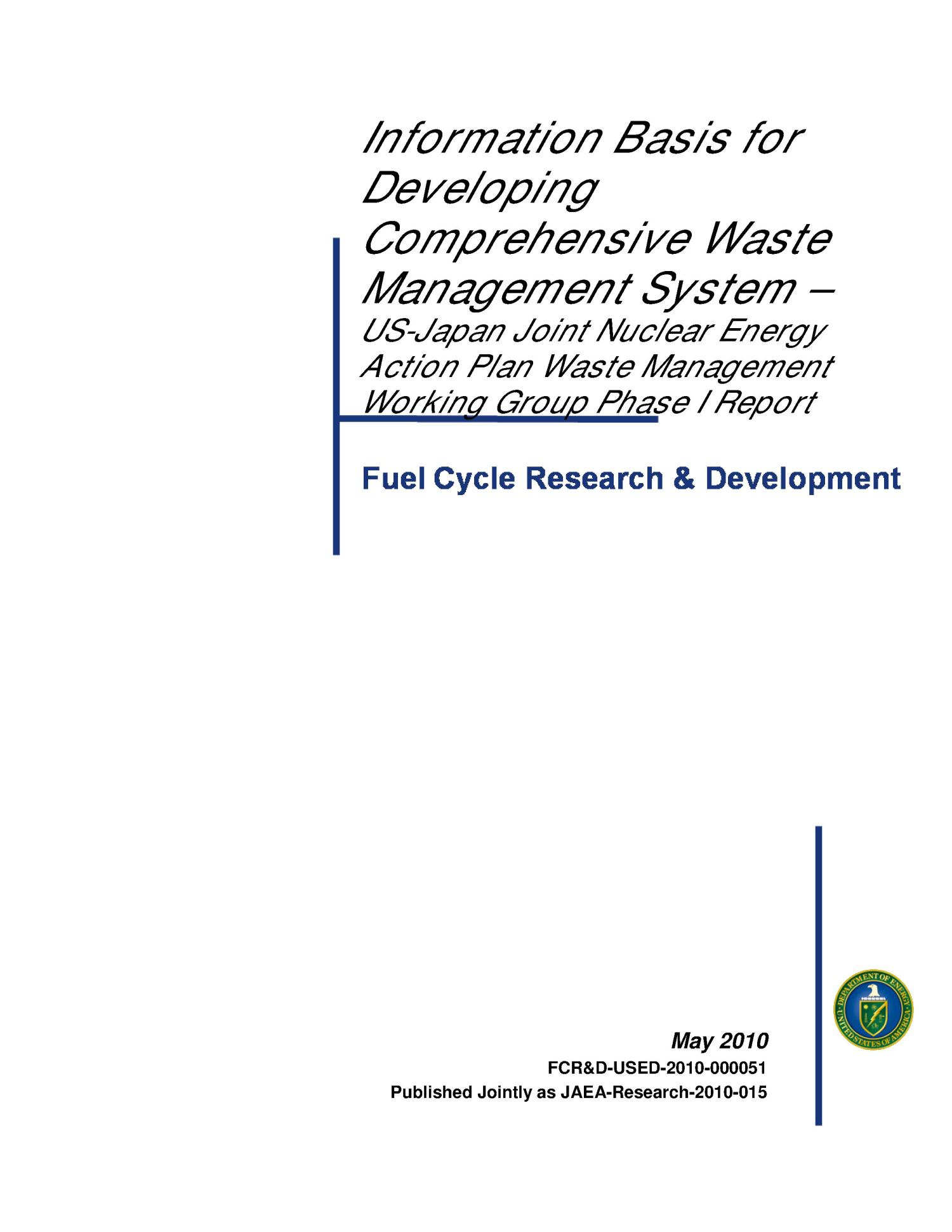Information basis for developing comprehensive waste management