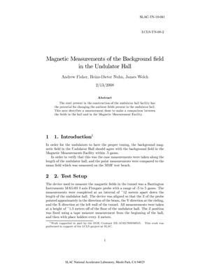 Primary view of object titled 'Magnetic Measurement of the Background Field in the Undulator Hall'.