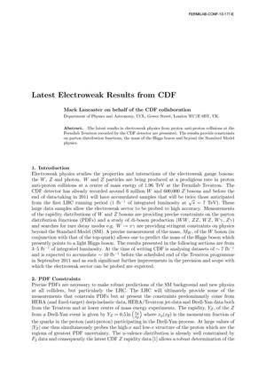 Primary view of object titled 'Latest Electroweak Results from CDF'.