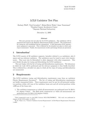 Primary view of object titled 'LCLS Undulator Test Plan'.