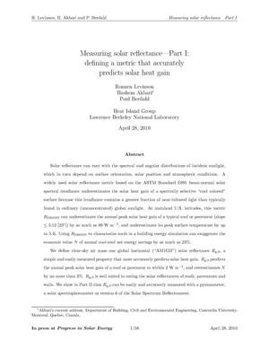 Primary view of object titled 'Measuring solar reflectance Part I: Defining a metric that accurately predicts solar heat gain'.
