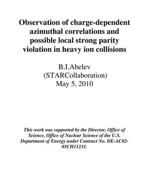 Primary view of object titled 'Observation of charge-dependent azimuthal correlations and possible local strong parity violation in heavy-ion collisions'.