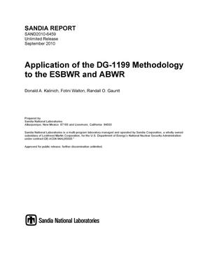 Primary view of object titled 'Application of the DG-1199 methodology to the ESBWR and ABWR.'.