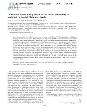 Primary view of object titled 'Influence of coarse woody debris on the soricid community in southeastern Coastal Plain pine stands.'.