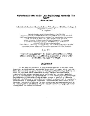 Primary view of object titled 'Constraints on the flux of Ultra-High Energy neutrinos from WSRT observations'.