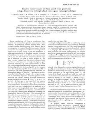 Primary view of object titled 'Tunable subpicosecond electron bunch train generation using a transverse-to-longitudinal phase space exchange technique'.