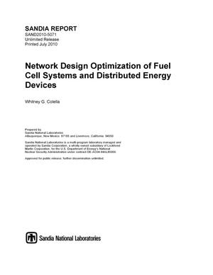 Primary view of object titled 'Network design optimization of fuel cell systems and distributed energy devices.'.