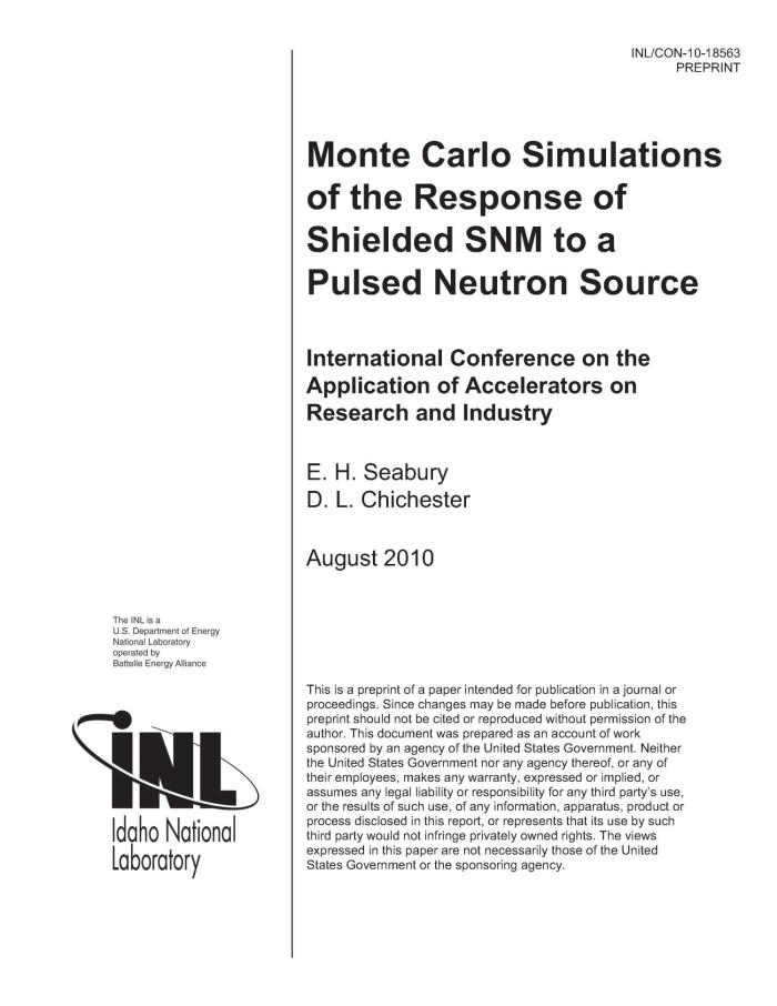 Monte Carlo Simulations of the Response of Shielded SNM to a Pulsed
