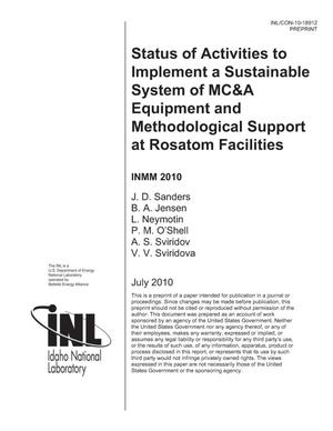 Primary view of object titled 'Status of Activities to Implement a Sustainable System of MC&A Equipment and Methodological Support at Rosatom Facilities'.