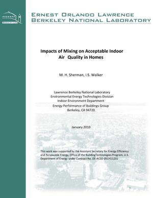 Primary view of object titled 'Impacts of Mixing on Acceptable Indoor Air Quality in Homes'.