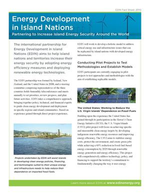 Primary view of object titled 'Energy Development in Island Nations (EDIN), Partnering to Increase Island Energy Security Around the World (Fact Sheet)'.
