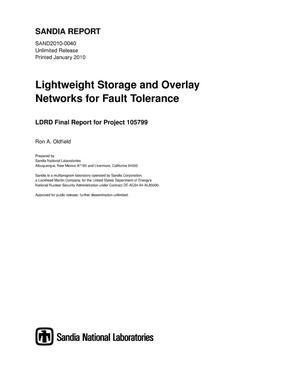 Primary view of object titled 'Lightweight storage and overlay networks for fault tolerance.'.