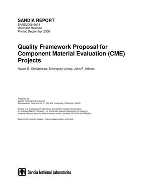 Primary view of object titled 'Quality framework proposal for Component Material Evaluation (CME) projects.'.