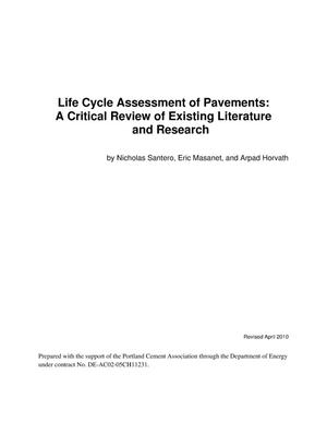 Primary view of object titled 'Life Cycle Assessment of Pavements: A Critical Review of Existing Literature and Research'.
