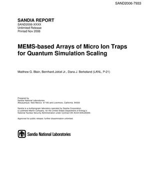Primary view of object titled 'MEMS-based arrays of micro ion traps for quantum simulation scaling.'.