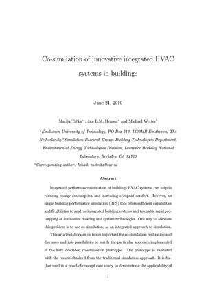 Primary view of object titled 'Co-simulation of innovative integrated HVAC systems in buildings'.
