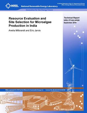 Primary view of object titled 'Resource Evaluation and Site Selection for Microalgae Production in India'.
