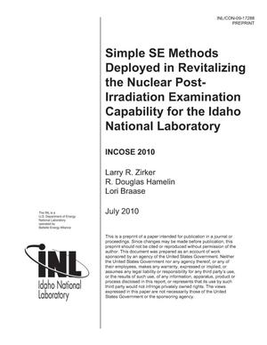 Primary view of object titled 'Simple SE Methods Deployed in Revitalizing the Nuclear Post- Irradiation Examination Capability for the Idaho National Laboratory'.