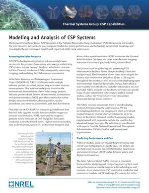 Primary view of object titled 'Modeling and Analysis of CSP Systems (Fact Sheet)'.