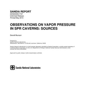Primary view of object titled 'Observations on vapor pressure in SPR caverns : sources.'.