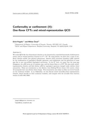 Primary view of object titled 'Conformality or Confinement (II): One-flavor CFTs and Mixed-Representation QCD'.