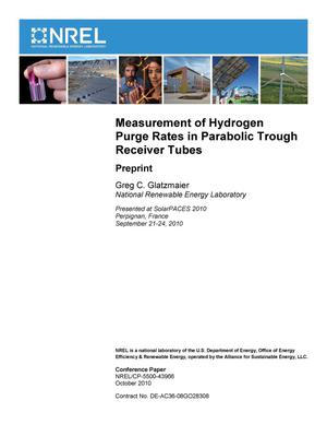 Primary view of object titled 'Measurement of Hydrogen Purge Rates in Parabolic Trough Receiver Tubes: Preprint'.