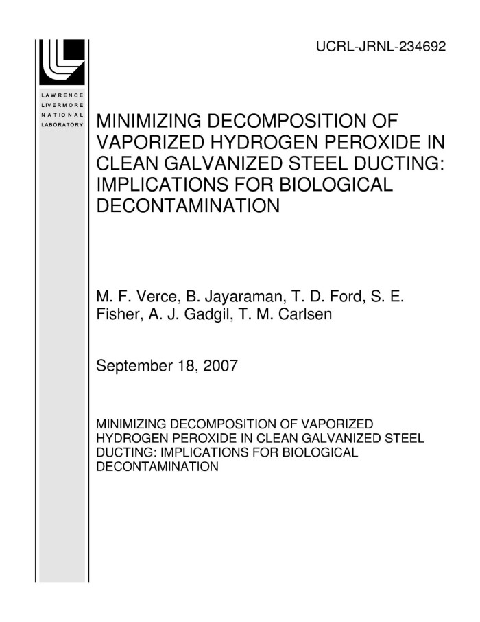Primary View Of Objectled Minimizing Decomposition Of Vaporized Hydrogen Peroxide In Clean Galvanized Steel