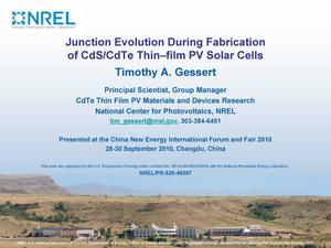 Primary view of object titled 'Junction Evolution During Fabrication of CdS/CdTe Thin-film PV Solar Cells (Presentation)'.