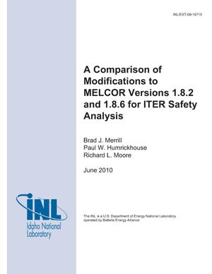 Primary view of object titled 'A Comparison of Modifications to MELCOR versions 1.8.2 and 1.8.6 for ITER Safety Analysis'.
